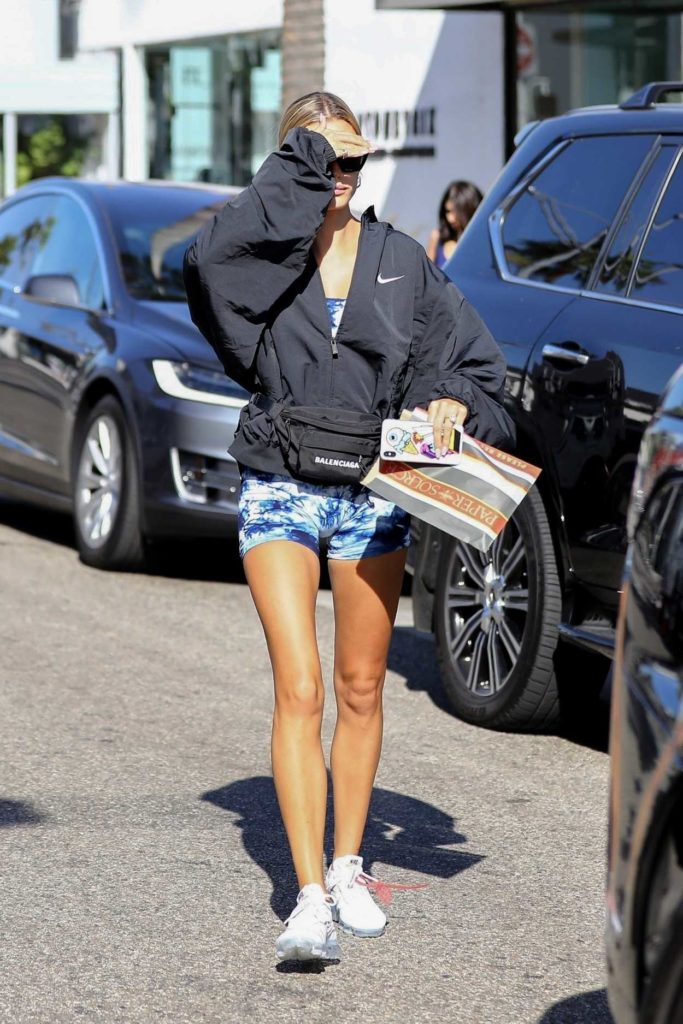 Hailey Baldwin in a Black Oversized Jacket