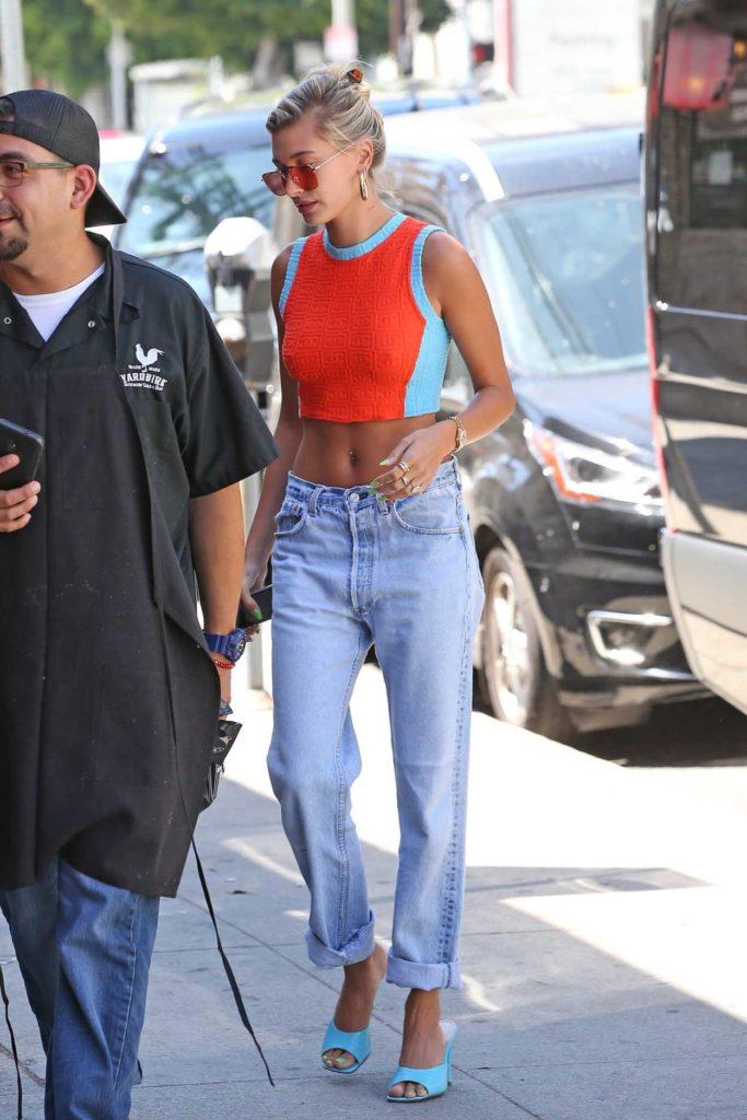 Hailey Baldwin in a Blue Jeans