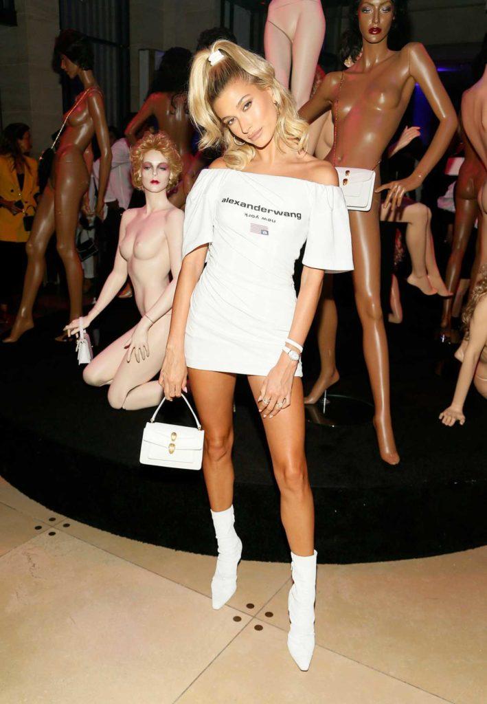 Hailey Baldwin in a Mini Alexander Wang Dress