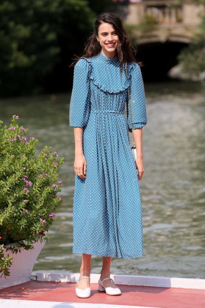 Margaret Qualley in a Blue Dress