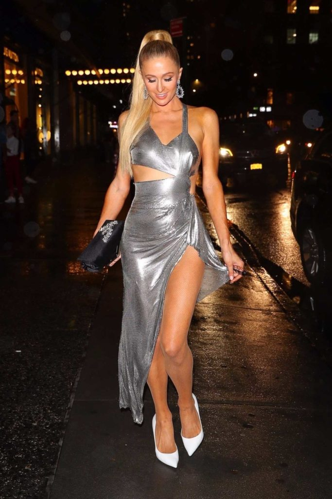 Paris Hilton in a Silver Dress
