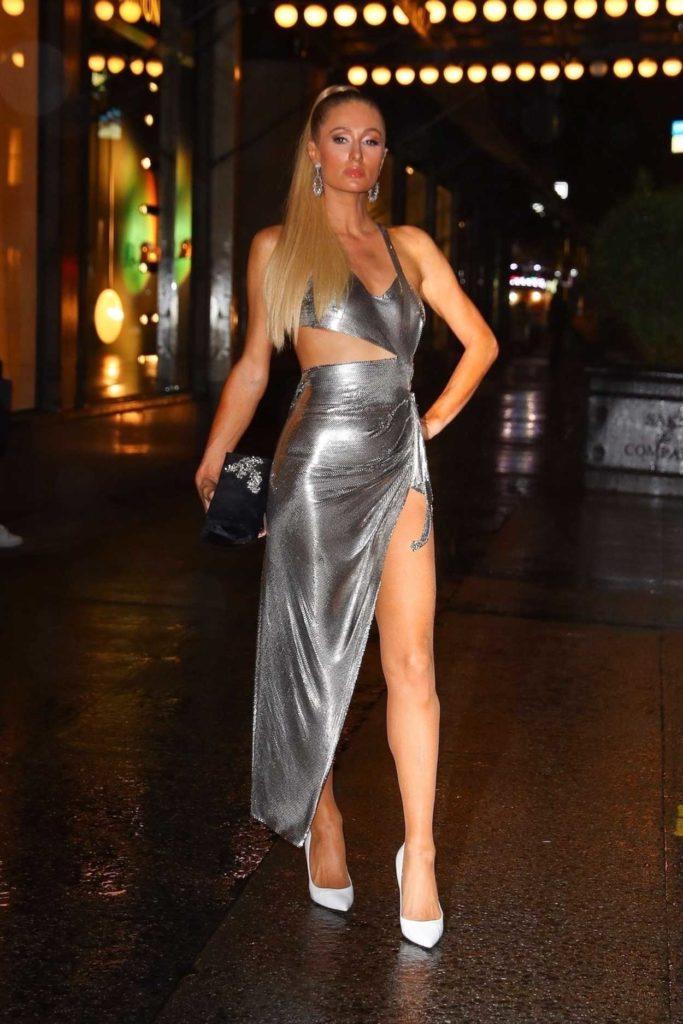 Paris Hilton in a Silver Dress