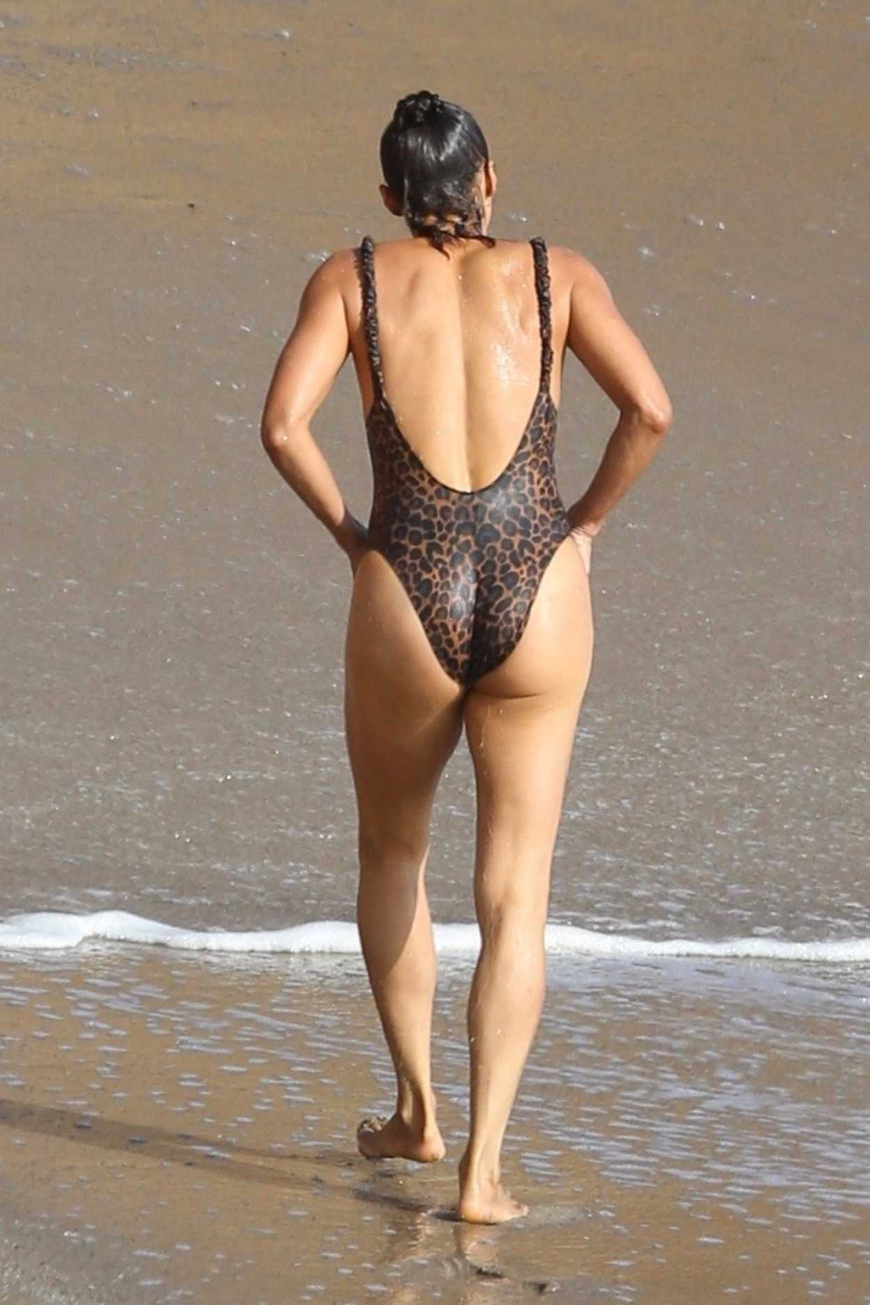 Paula Patton in a Leopard Print Swimsuit on the Beach in