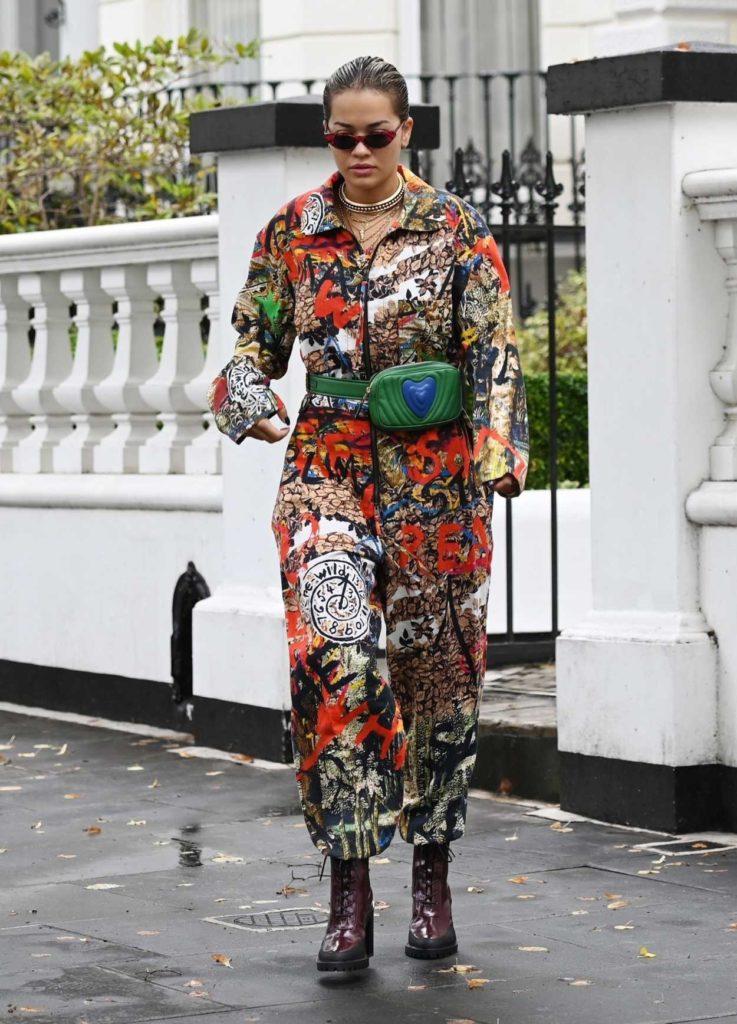Rita Ora in a Floral Jumpsuit
