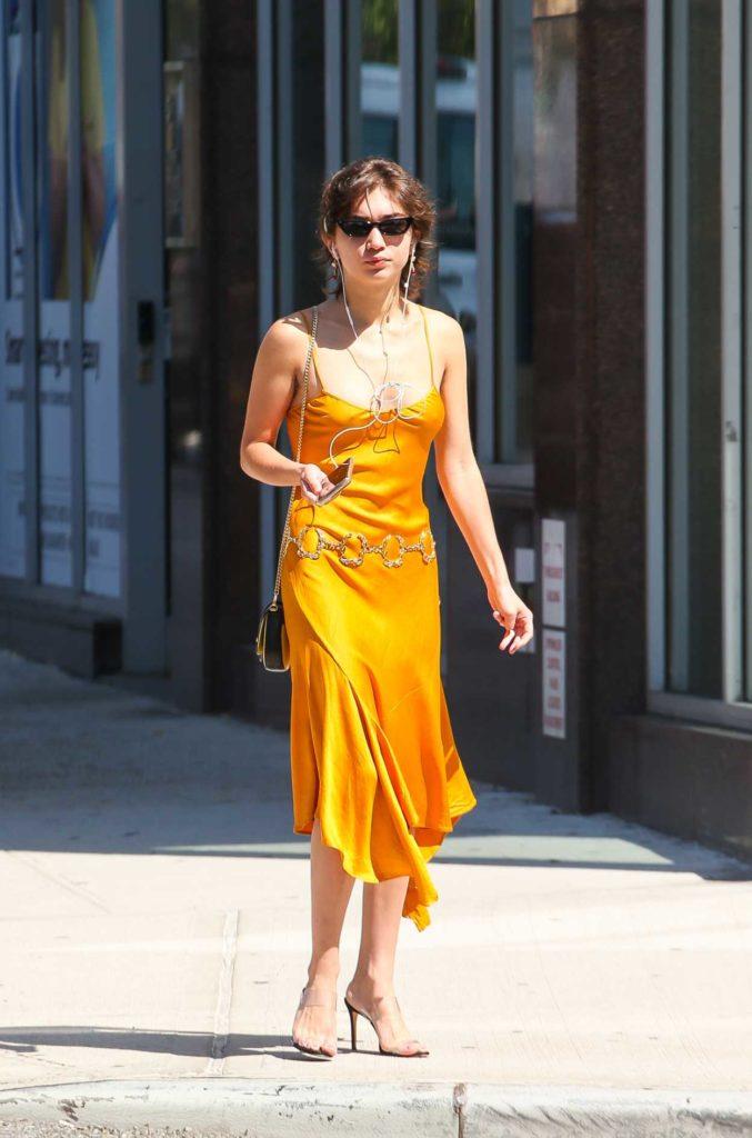 Rowan Blanchard in a Yellow Dress