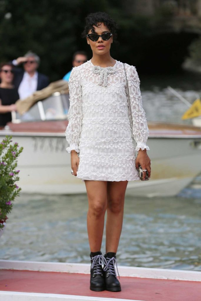 Tessa Thompson in a White Dress