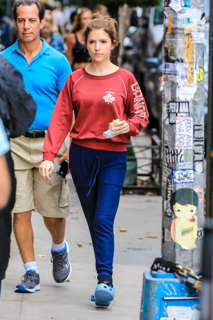 Anna Kendrick in a Red Sweatshirt