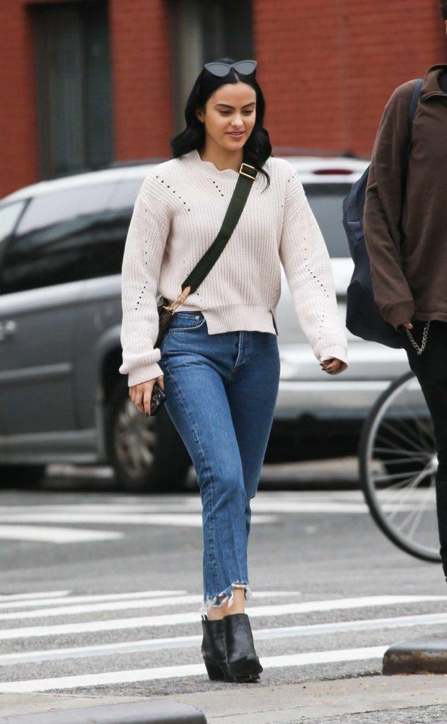 Camila Mendes in a Beige Sweater
