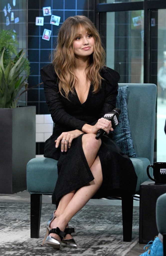 Debby Ryan In A Black Dress Visits Aol Build Series In New