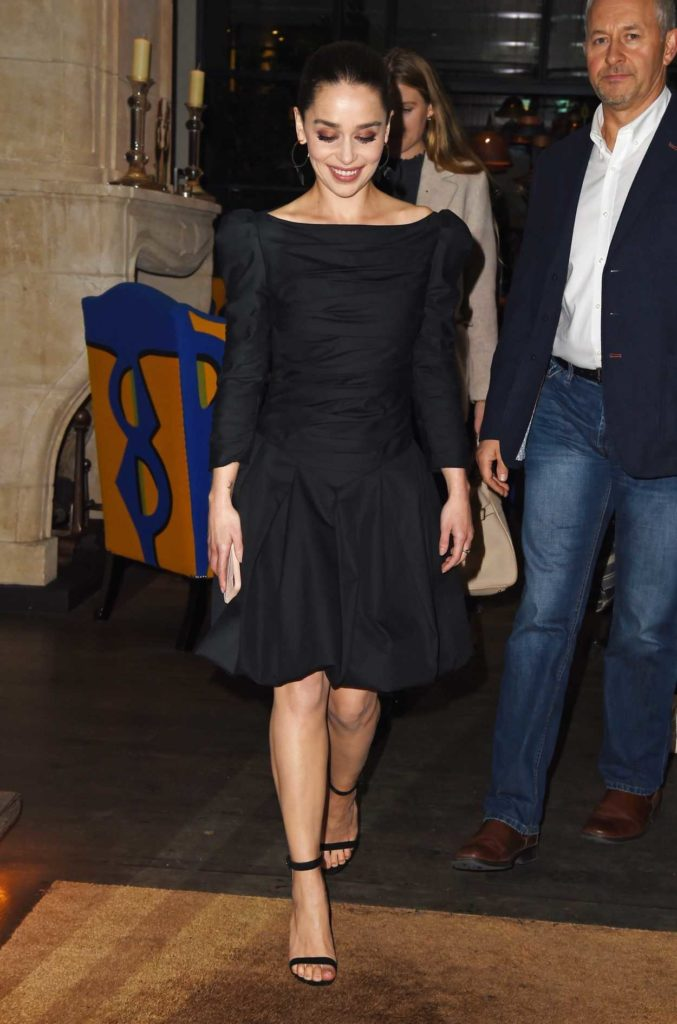 Emilia Clarke in a Black Dress