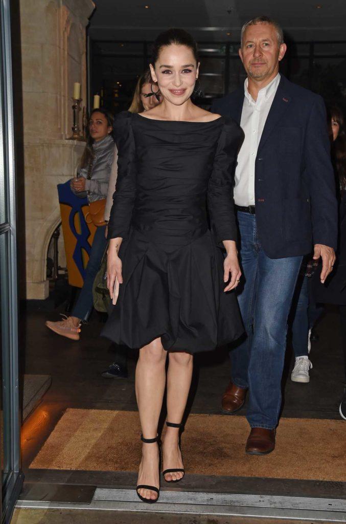 Emilia Clarke in a Black Dress