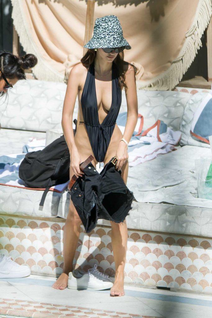 Emily Ratajkowski in a Black Bikini