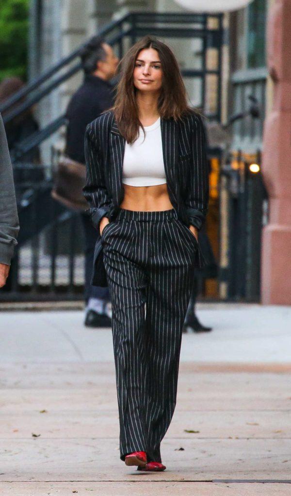 Emily Ratajkowski in a Black Striped Suit
