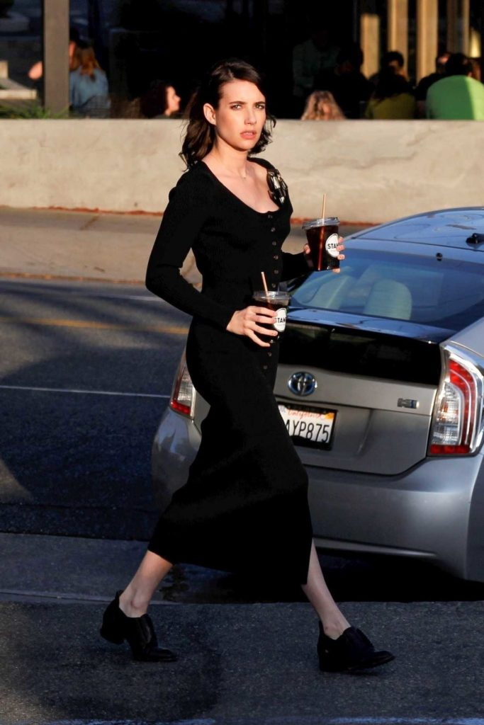 Emma Roberts in a Black Dress