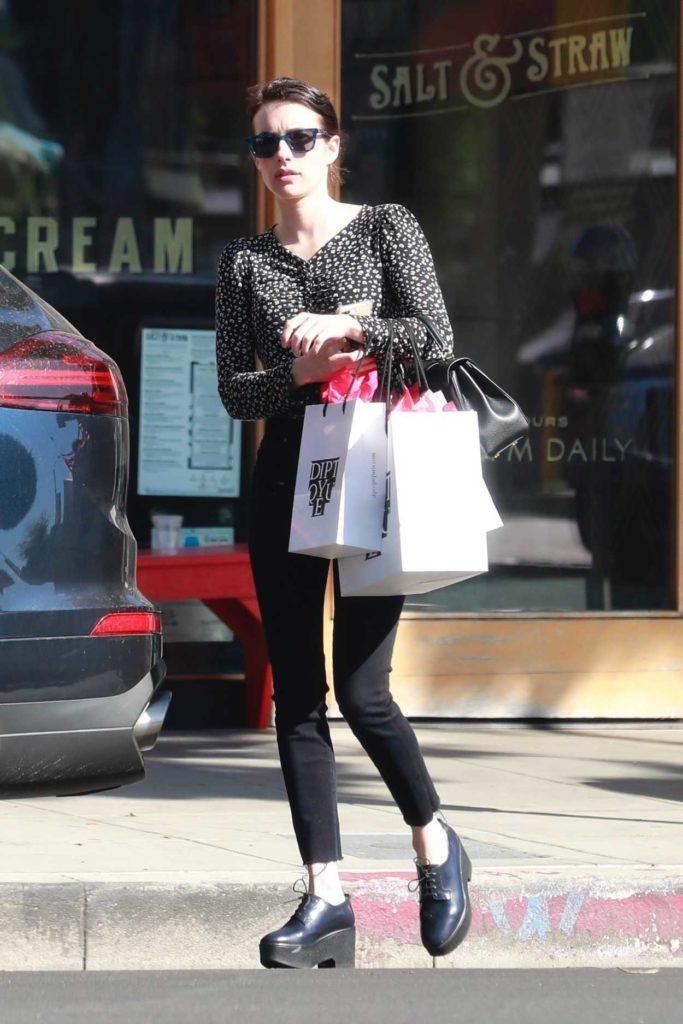 Emma Roberts in a Black Pants