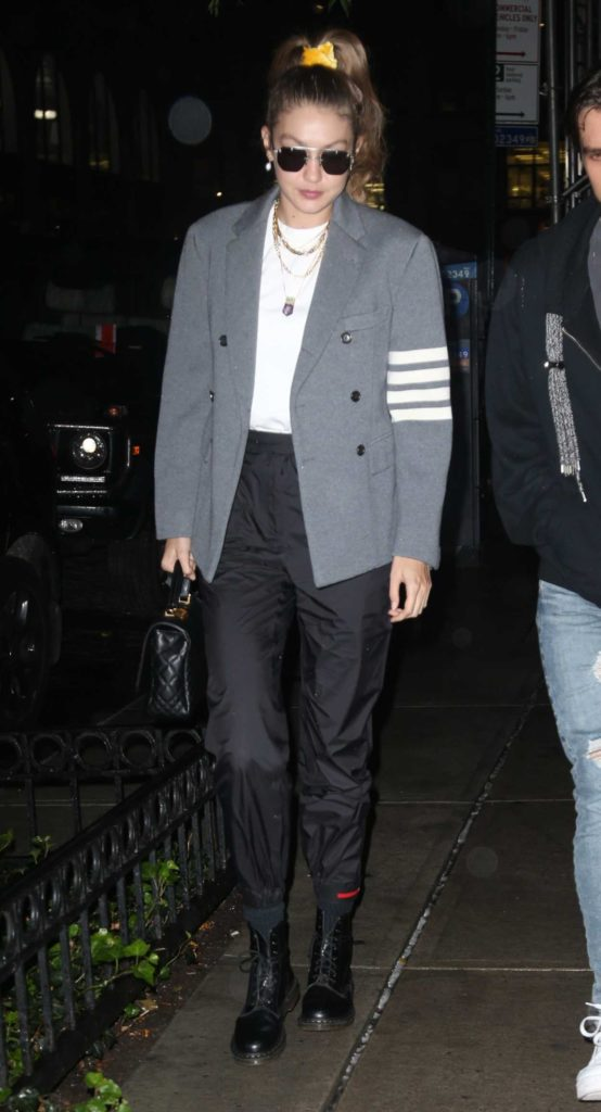 Gigi Hadid in a Gray Blazer