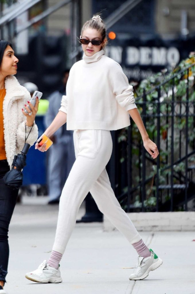 Gigi Hadid in a White Pants