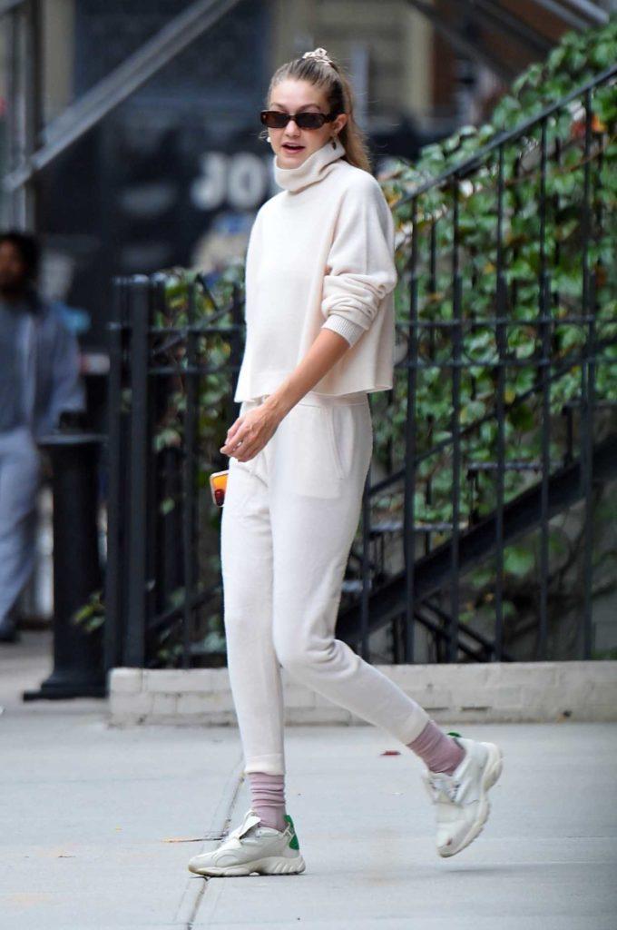 Gigi Hadid in a White Pants