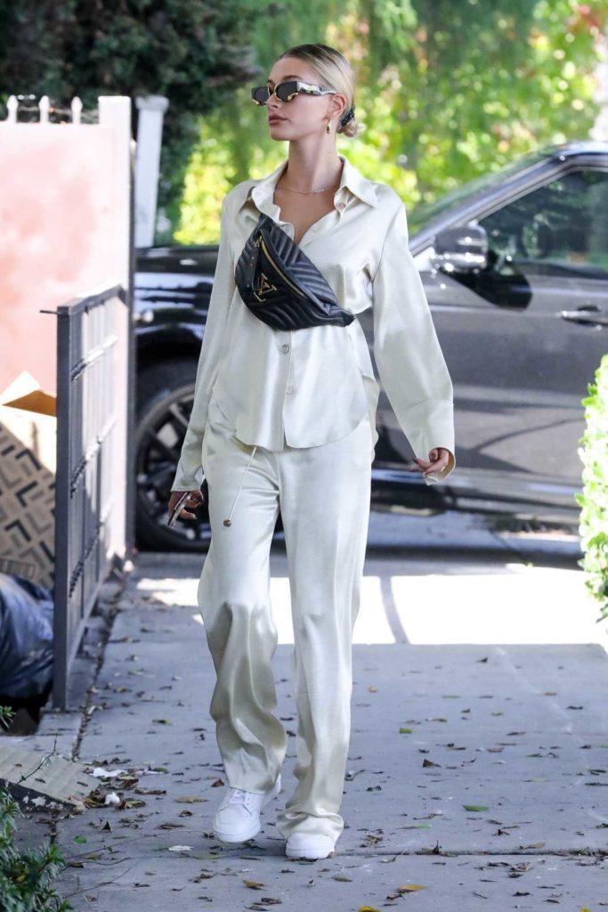 Hailey Baldwin in a Beige Suit