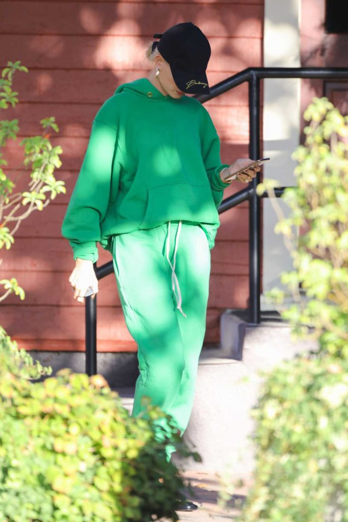 Hailey Baldwin in a Green Jogging Suit