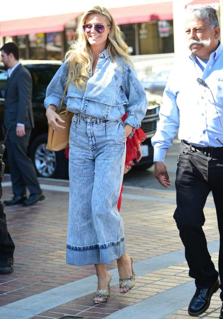 Heidi Klum in a Blue Denim Suit