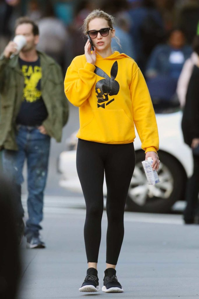 Jennifer Lawrence in a Yellow Hoody
