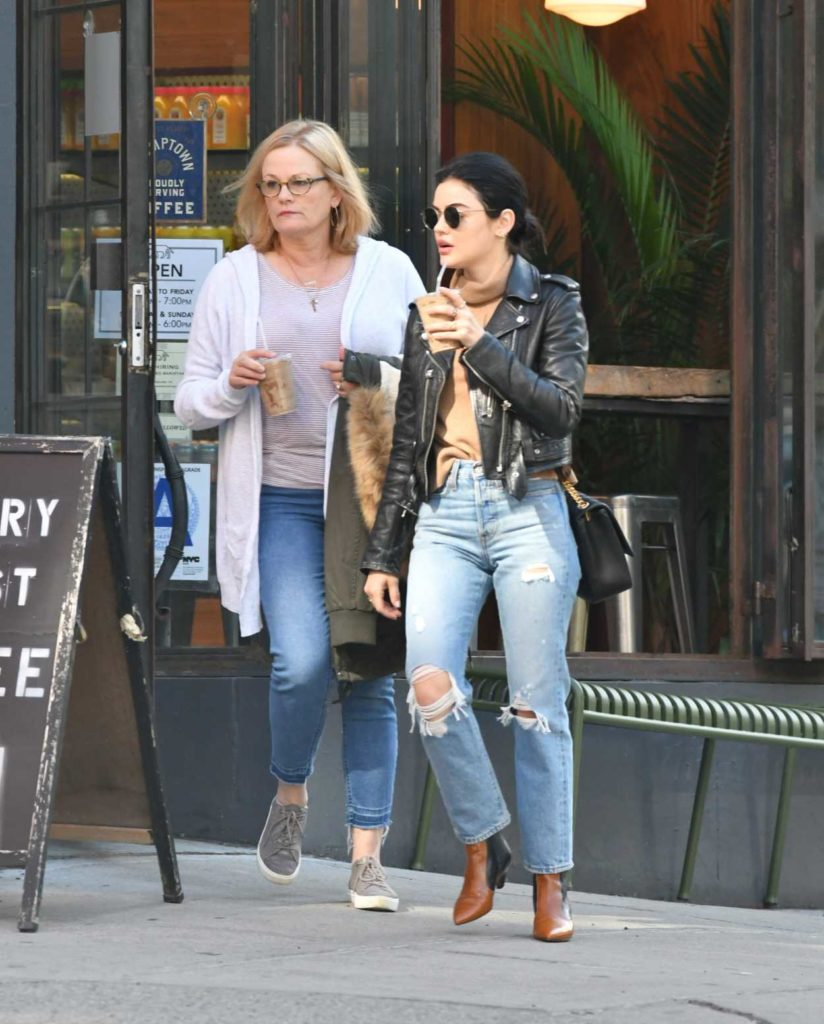 Lucy Hale in a Blue Ripped Jeans