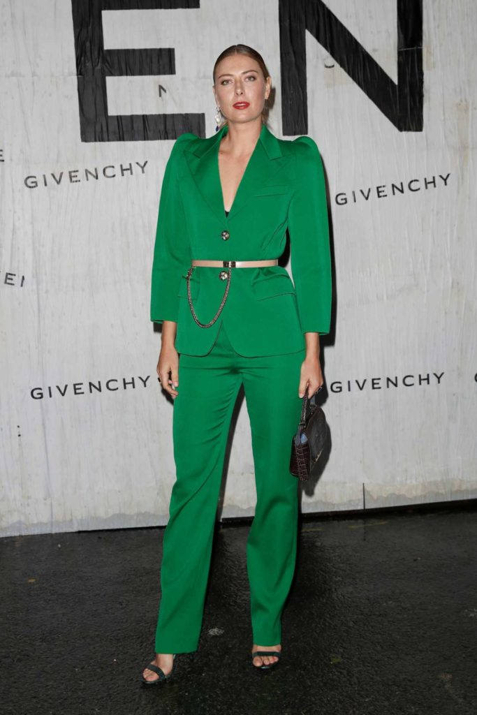 Maria Sharapova in a Green Suit