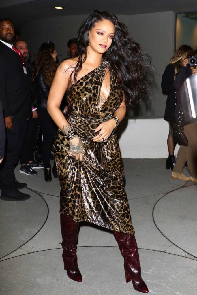 Rihanna in a Leopard Print Dress