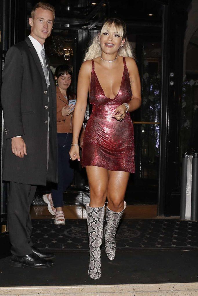Rita Ora in a Short Red Dress
