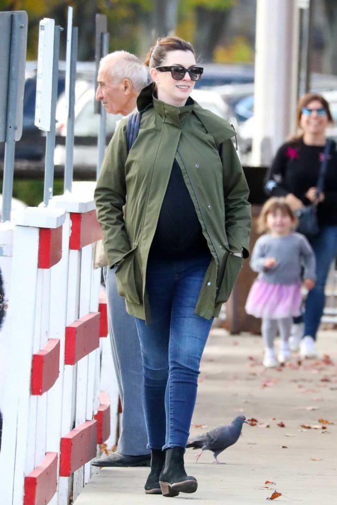 Anne Hathaway in a Green Jacket