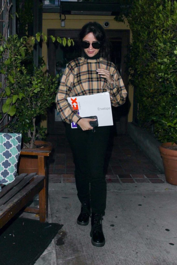 Camila Cabello in a Plaid Sweatshirt