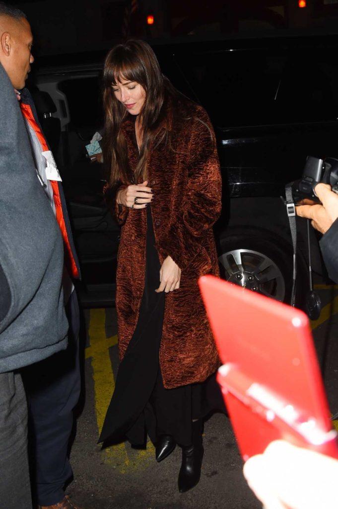 Dakota Johnson in a Brown Coat