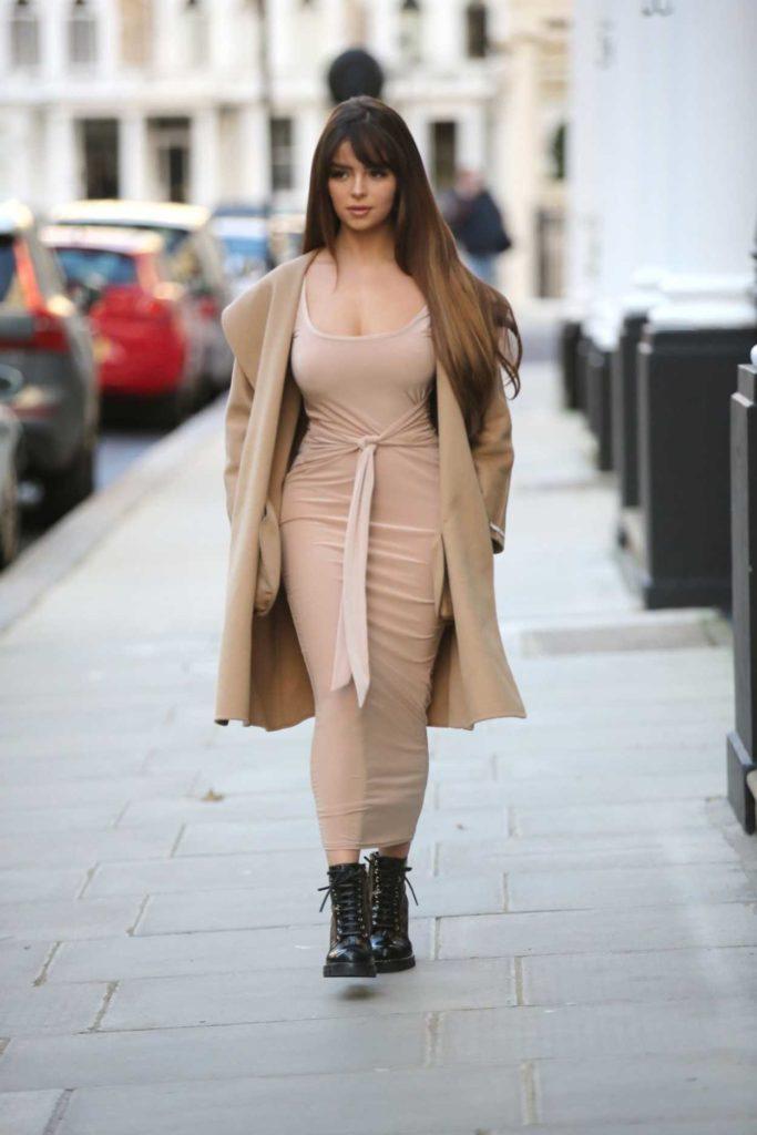 Demi Rose in a Beige Coat