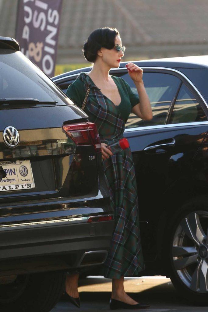 Dita Von Teese in a Green Plaid Dress