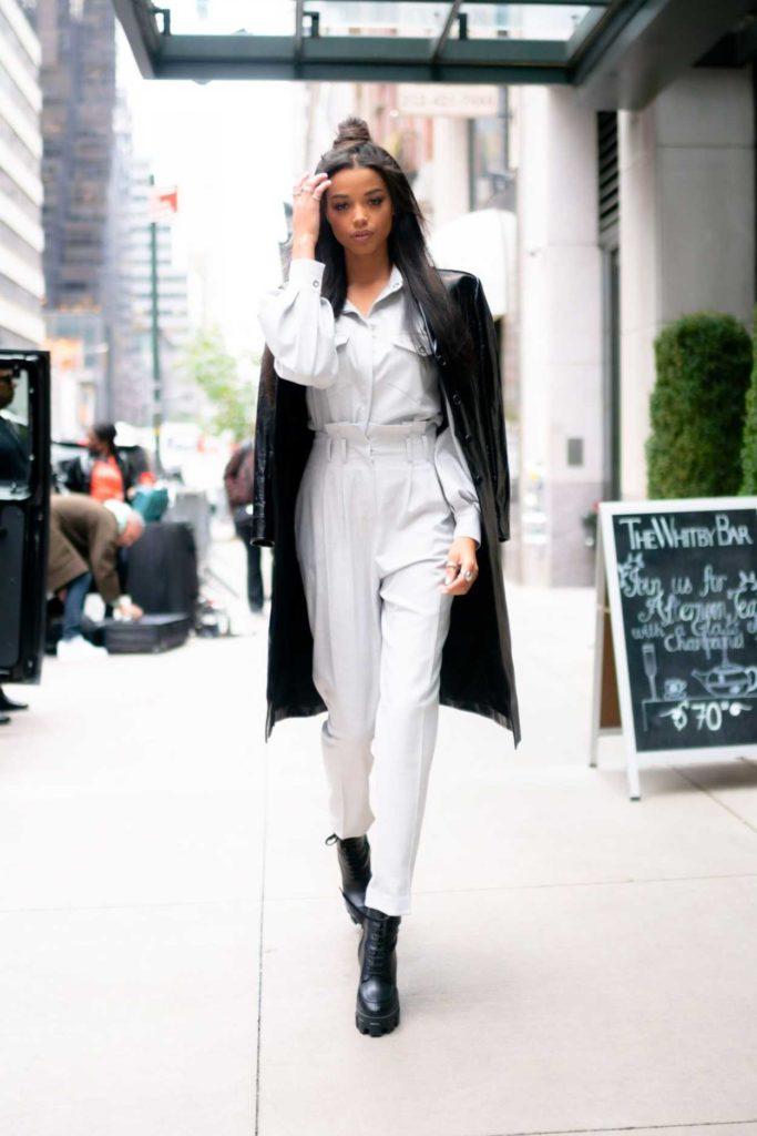 Ella Balinska in a Black Leather Coat