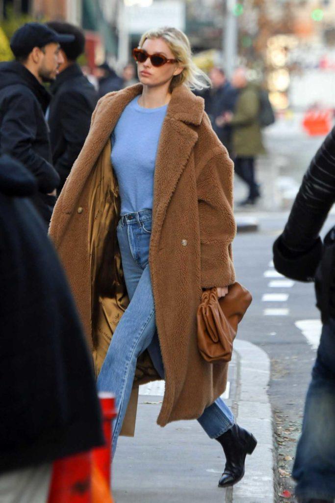 Elsa Hosk in a Beige Fur Coat