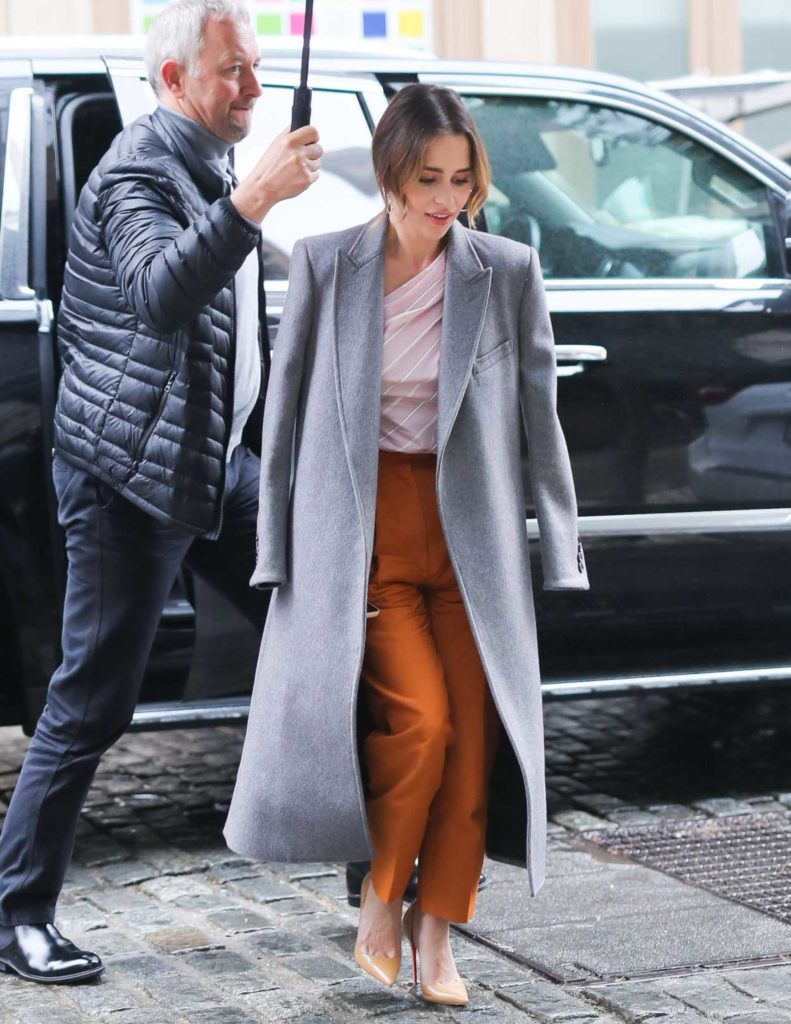 Emilia Clarke in a Gray Coat