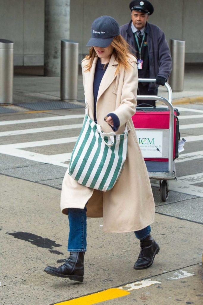 Emma Stone in a Beige Coat