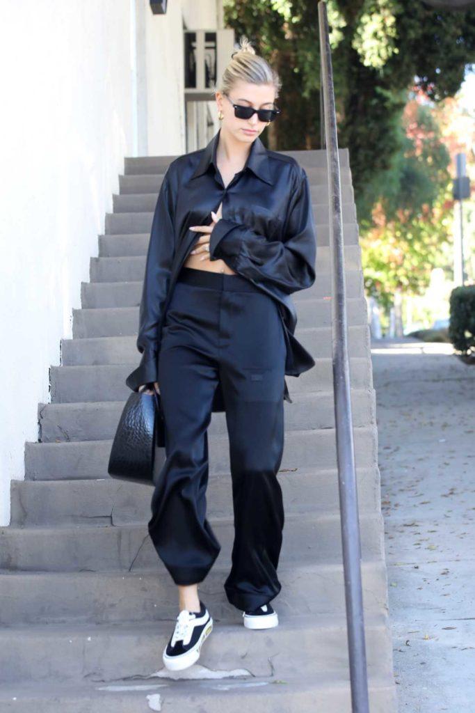 Hailey Baldwin in a Black Suit