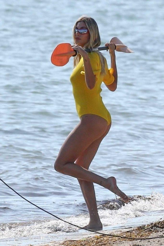 Hailey Baldwin in a Yellow Swimsuit