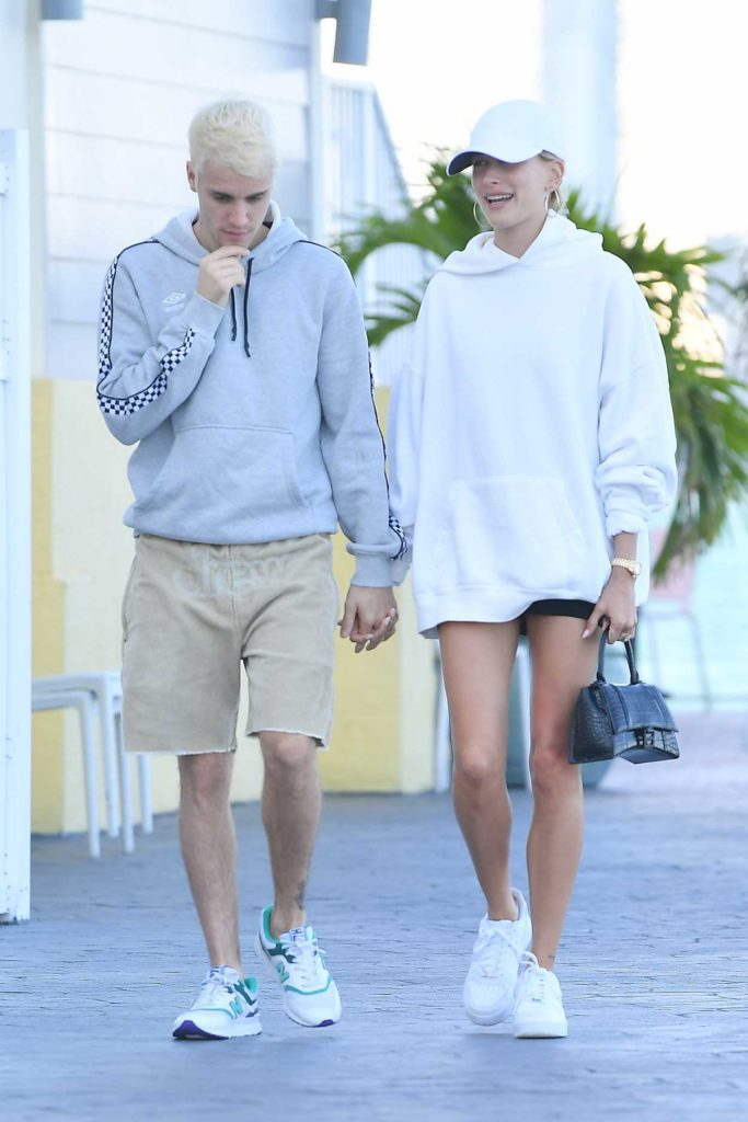 Hailey Bieber in a White Cap