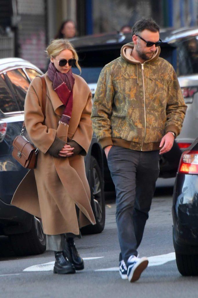 Jennifer Lawrence in a Beige Coat