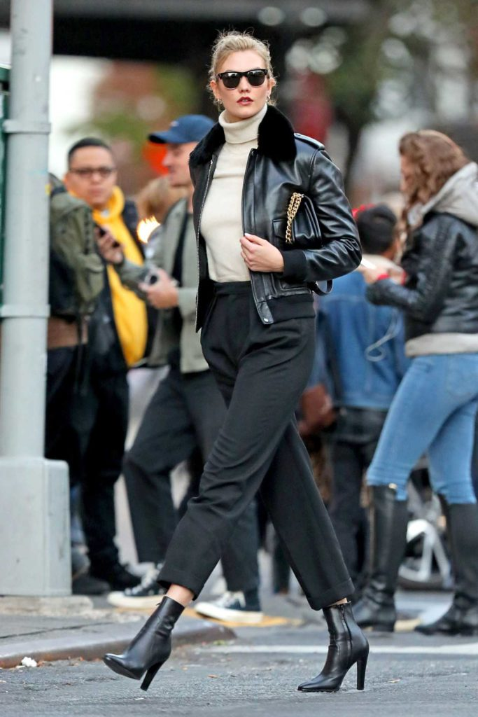 Karlie Kloss in a Black Leather Jacket