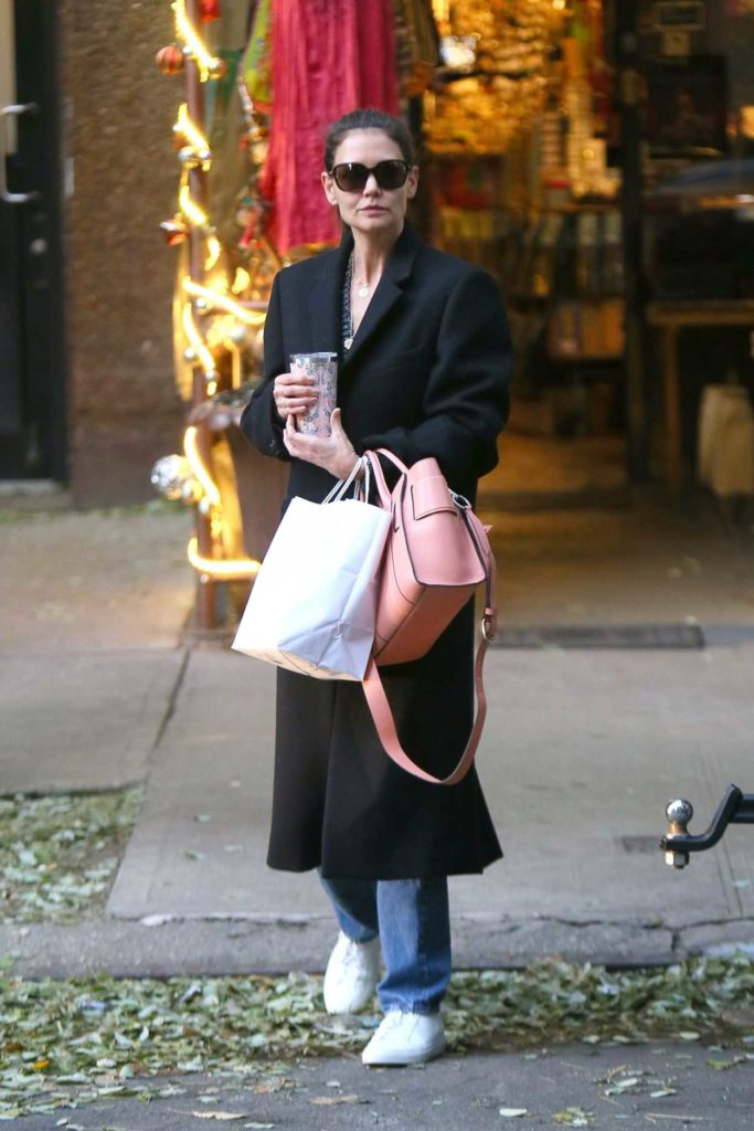 Katie Holmes in a Black Coat