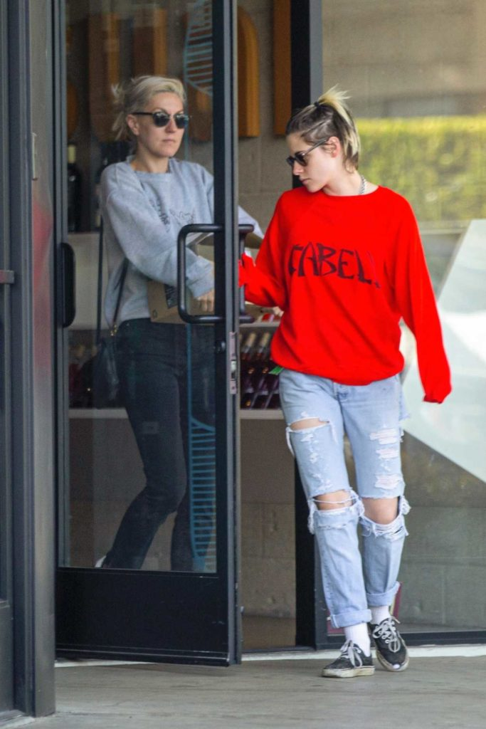 Kristen Stewart in a Red Sweatshirt