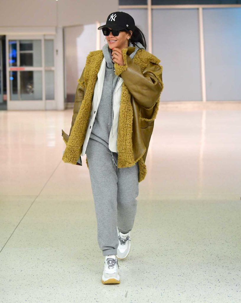 Rihanna in a Gray Jogging Suit