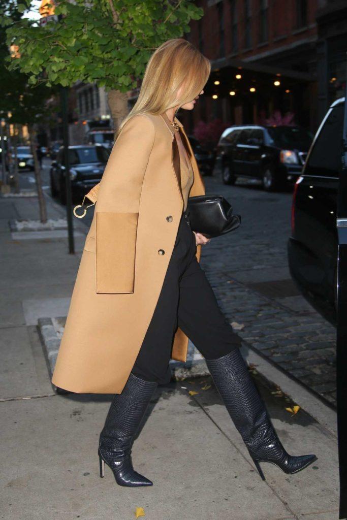 Rosie Huntington-Whiteley in a Beige Coat