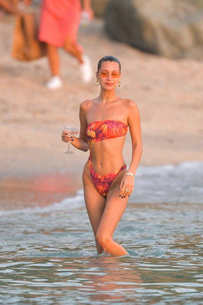 Bella Hadid in a Red Bikini