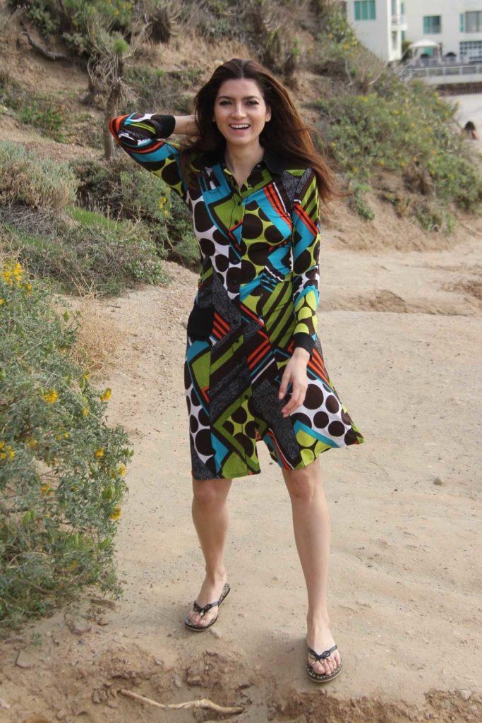 Blanca Blanco in a Leopard Print Flip-Flops
